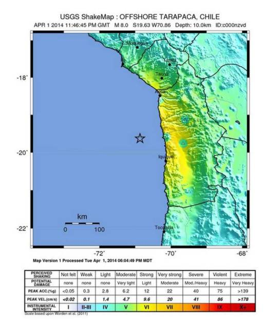 epa04150309 A handout image released by the United States Geological Survey (USGS) 01 April 2014 shows a shakemap with the location of a powerful magnitude 8.0 earthquake off the coast of Chile some 100 km from the city of Iquique. A tsunami alert for the Pacific coast has been issued after the quake struck at a relatively shallow depth of 10 km.  EPA/USGS  HANDOUT EDITORIAL USE ONLY